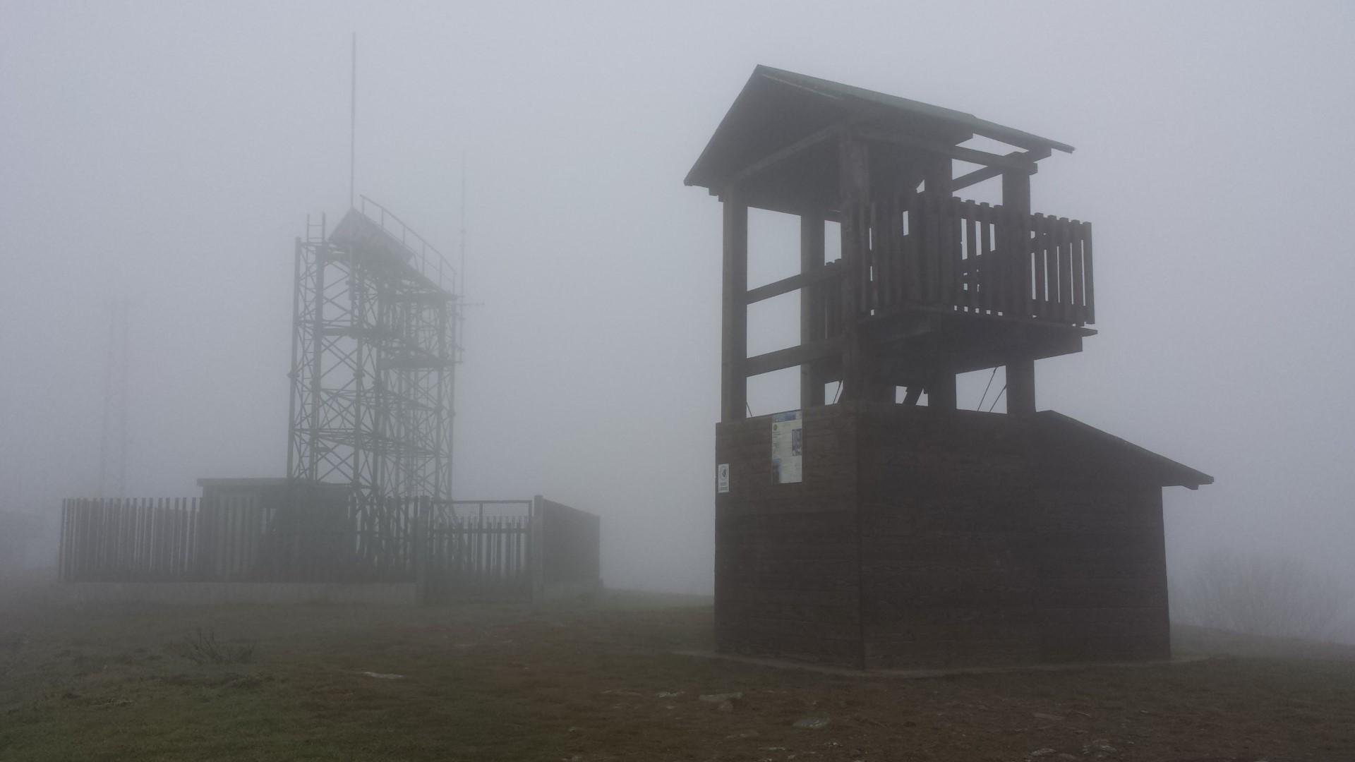Cima del Monte Lignano immersa nella nebbia